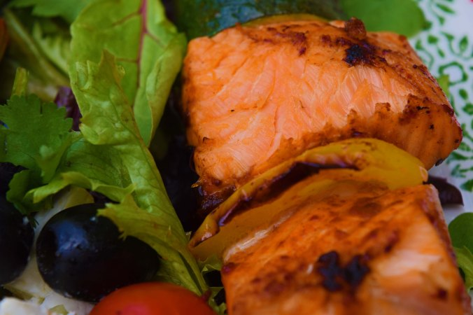 salmon kebab closeup