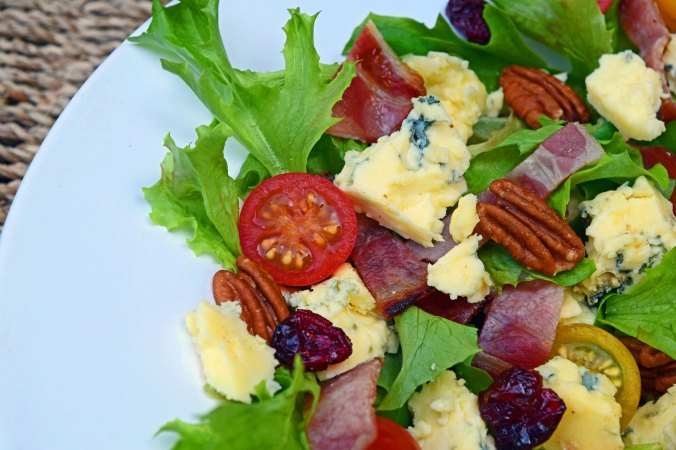 Stilton bacon salad closeup